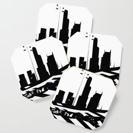 City Scape in Black and White Coaster
