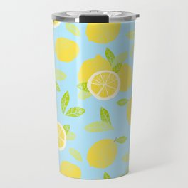 Bright And Sunny And Stamped Lemon Citrus Pattern Travel Mug