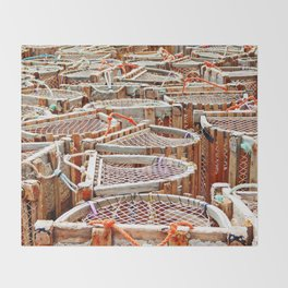 Traditional Lobster Traps Throw Blanket