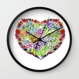 flowers in the heart ( https://society6.com/totalflora/collection ) Wall Clock