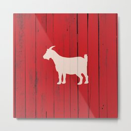 Rustic Farmhouse Goat Red Barn Wood Panel Metal Print
