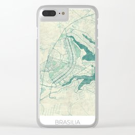 Brasilia Map Blue Vintage Clear iPhone Case