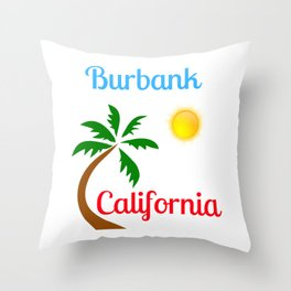Burbank California Palm Tree and Sun Throw Pillow