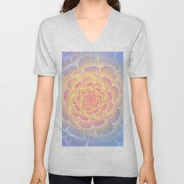 Romantic violet and yellow flower Unisex V-Neck