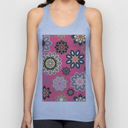 Flower retro pattern in vector. Blue gray flowers on pink background. Unisex Tank Top
