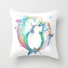 Bubbly Belugas Throw Pillow