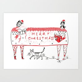 Christmas together under a sweater Art Print