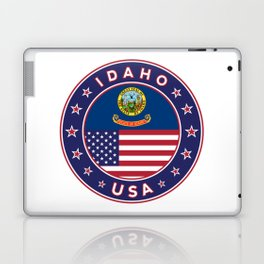 Idaho, Idaho t-shirt, Idaho sticker, circle, Idaho flag, white bg Laptop & iPad Skin
