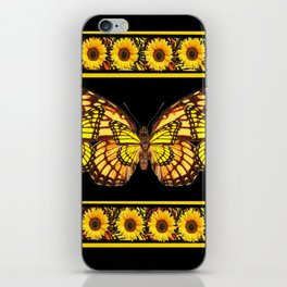 YELLOW MONARCH BUTTERFLIES & SUNFLOWERS BLACK ART iPhone Skin