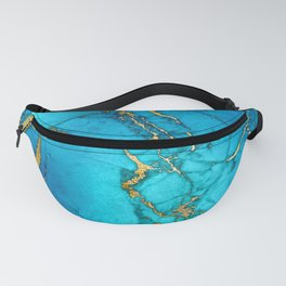 Gold And Teal Blue Indigo Malachite Marble Fanny Pack