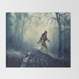 Misty Railway Bigfoot Crossing Throw Blanket