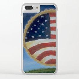 American Pie in the Sky Flag Folk Art Clear iPhone Case