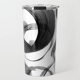 Modern abstract black white hand painted brushstrokes Travel Mug