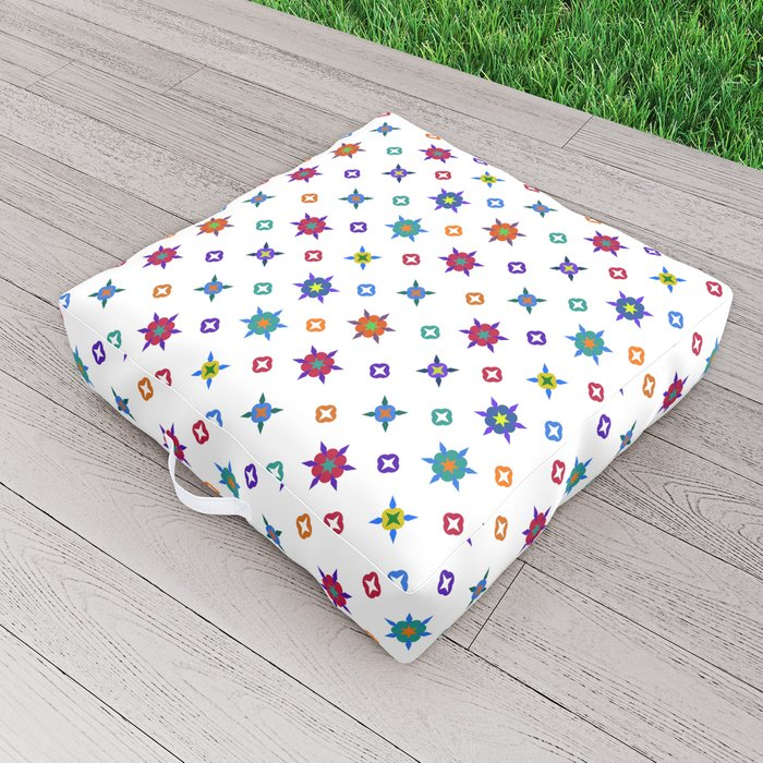 Small Flowers in White Outdoor Floor Cushion