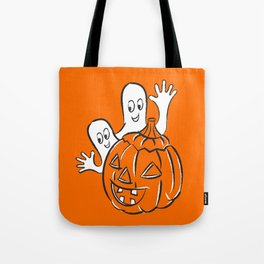 Vintage Halloween Jack O Lantern Pumpkin and Ghost Tote Bag