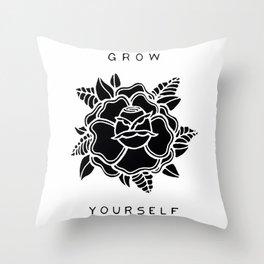 black rose/grow yourself Throw Pillow