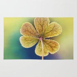 Heart-shaped Clover like Oxalis Macro. St Patrick's Day Rug