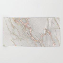 Marble Rose Gold Blush Pink Metallic by Nature Magick Beach Towel