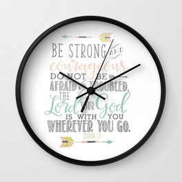 Joshua 1:9 Christian Bible Verse Typography Design Wall Clock