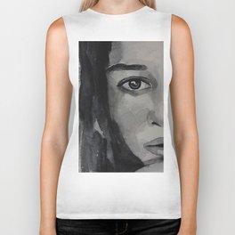 Watercolor portrait beautiful girl with dark hair Biker Tank