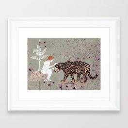 the woman with a jaguar Framed Art Print