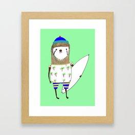 Sloth Surfer Framed Art Print
