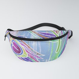 Lilac and blue peacock feathers print Fanny Pack