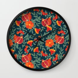 Pomegranate. Blue pattern Wall Clock
