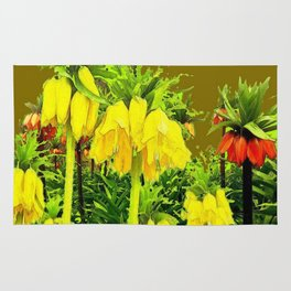YELLOW CROWN IMPERIAL WATERCOLOR  FLOWERS Rug