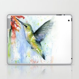 Hummingbird Red Flower Watercolor Bird Laptop & iPad Skin