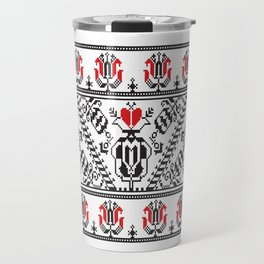 Seamless pattern design inspired by Romanian traditional embroidery Travel Mug