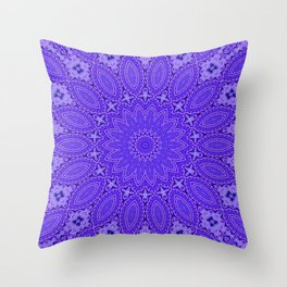 Lovely Healing Mandala  in Brilliant Colors: Purple and Blue Throw Pillow