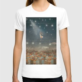 Illustration of  cute houses and  pretty girl   in night sky T-shirt
