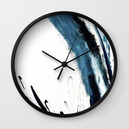 Reykjavik: a pretty and minimal mixed media piece in black, white, and blue Wall Clock