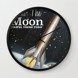 visit the moon vintage science fiction poster Wall Clock