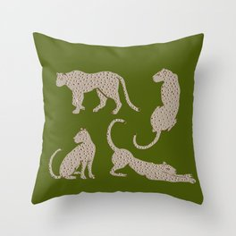Leopard Block Party - Olive Throw Pillow
