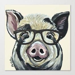 Pig with Glasses, Cute Farm Art Canvas Print