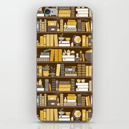 Book Case Pattern - Yellow Grey iPhone Skin