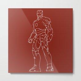 Iron man drak red background handmade drawing Metal Print