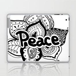 Peace lotus Motto saying mandala floral pattern Laptop & iPad Skin