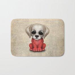 Cute Puppy Dog with flag of Poland Bath Mat