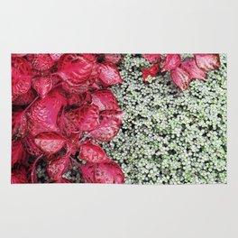 Pink Leaves on Green Carpet Rug