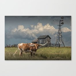 Longhorn Steer in a Prairie pasture by 1880 Town with Windmill and Old Gray Wooden Barn Canvas Print