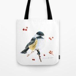 Christmas Chickadee by Teresa Thompson Tote Bag