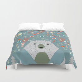 Winter pattern with baby bear Duvet Cover