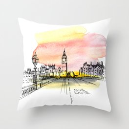London, Big Ben. Watercolor and ink. Throw Pillow