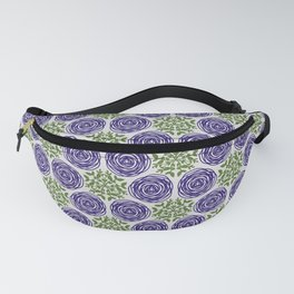 SCION purple blue spring bloom with greenery pattern Fanny Pack