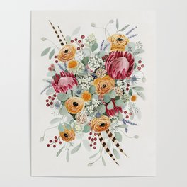 Fall Protea Bouquet Poster