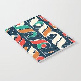 Colorful Vintage Geometric Stripes Pattern Notebook