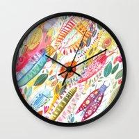 bugs Wall Clocks featuring Bugs by Mia Dunton
